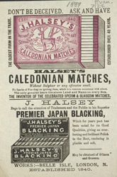 Advert For Halsey's Caledonian Matches